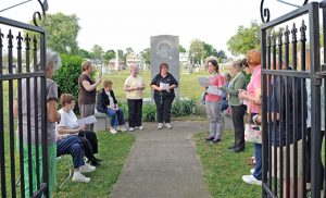 The Ladies Ancient Order of Hibernians of Saint Mary Parish pray in front of the Monument of the Unborn at Old Saint Mary's Cemetery in Gloucester City on May 12 during a Pro-Life Rosary. Photo by Alan M. Dumoff