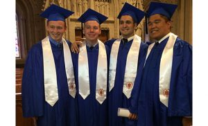 Four seminarians of the Diocese of Camden — Peter Gallagher, Henry Laigaie, Paul Abbruscato and Carlo Santa Teresa — graduated from Seton Hall University, South Orange, N.J., on May 16. Gallagher was the valedictorian for the School of Theology and salutatorian for the entire graduating class.
