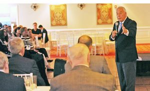 Robert Wittman, a former FBI agent specializing in art theft, shares 20 years' worth of stories of crime and cultural artifacts to those gathered at Cherry Hill's Woodcrest Country Club on June 2. Photo by Alan M. Dumoff