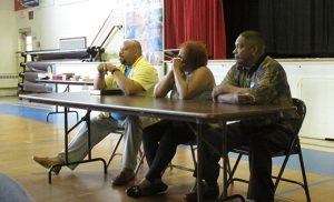 James Pritchett, right, speaks during a panel of formerly incarcerated individuals who shared their experiences at the Prison Ministry Gathering held June 4 in Vineland. The other speakers were Juan A. Guillen Luna and Gail DeVine. Photo by Joanna Gardner