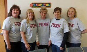K-2 teachers from Our Lady of Hope Regional School in Blackwood celebrate their collaborative experience with the Penn Literacy Network. Pictured from left are Terry McDonald, MaryAnn Kiessling, Dottie Kantner, Paula Iacone and Rose McNally.