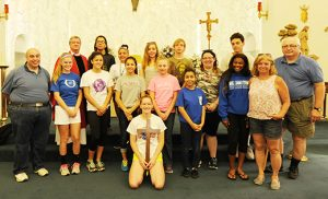 Summer in the City participants and adult leaders pose for a photo after Mass at Christ the Good Shepherd Parish, Vineland, on June 30. The group stayed at John Paul II Retreat Center in Vineland for a week of service, prayer and learning. Photo by Alan M. Dumoff