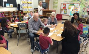 Grandparents spend time visiting their grandchildren at Saint John Paul II Regional School, Stratford, during the school's annual Grandparent's Day on April 21.