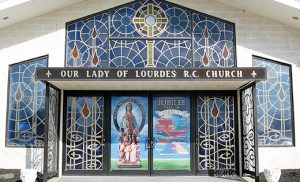 The Holy Doors at Church of Our Lady of Lourdes, Mary, Mother of Mercy Parish, Glassboro.