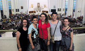Diocese of Camden pilgrims Amanda Dupras, Vivian Webster, Gabi Marigliano, Jen Oliver and Megan Walheim at the Divine Mercy Shrine in Czestochowa in Poland, during their World Youth Day travels.
