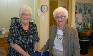 Volunteers Joan Buono and Helen Foti served as tour guides and answered questions during the open house for Saint Peter Parish's Senior Center last weekend. From Mondays to Fridays, 10 a.m.- 2 p.m., the Merchantville center provides spiritual, educational, health and wellness, and social activities for those over the age of 65. Photo by James A. McBride