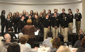 Students representing all Camden Diocesan high schools will combine their musical talents at Christmas Amore, the 2016 concert to support the South Jersey Scholarship Fund. The group received a standing ovation after a sneak preview at the diocesan benefactors' thank you event on Oct. 24, under the direction of Holy Spirit High School, Absecon, music teacher Claire Collins. Photo by Mary McCusker