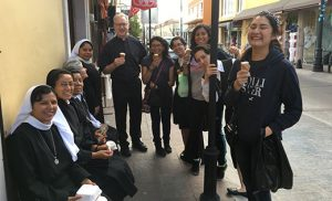 Father Vincent Guest is pictured with women from Bridgeton and women religious in Aguascalientes, Mexico