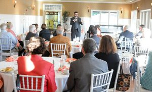 Michael Jordan Laskey, director of Life and Justice Ministries for the Diocese of Camden, gives a non-partisan presentation on Election Year politics at the Catholic Business Network Breakfast Oct. 14 at Woodcrest Country Club, Cherry Hill. Photo by Peter G. Sánchez