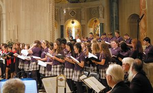 A student choir from Paul VI High School, Haddon Township, sings during Mass in the National Shrine of the Basilica of the Immaculate Conception in Washington on Oct. 1, the day of the Camden Diocese's biennial Marian Pilgrimage to the shrine. Photo by James A. McBride