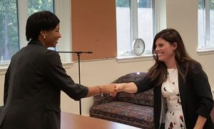 Our Lady of Mercy Academy held a morning of mock interviews with the help of five recruiting professionals who volunteered their time. Pictured are Brittany Himes of National Freight Industries greeting OLMA senior, Olivia Marrone. Other interviewers included Antoinette Finizio, Premier Orthopaedic Associates; Robert McCormick, Toyota-Scion of Vineland; Kevin Burke, Saint Augustine Prep; and Margaret Durham, Dutra Sheet Metal. Earlier in the week, juniors and seniors participated in a workshop featuring two recruiting professionals from Johnson Matthew, a Global Chemical Manufacturing company based out of the U.K. The instructors provided information on interviewing, including how to prepare a resume.