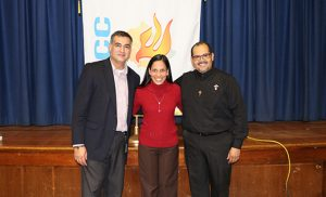 Speakers for the weekend were Andres Arango, left, Director of Evangelization and the Bishop's Delegate for Hispanic Ministry, and Deacon Santiago Guerrero of Las Vegas, Spiritual Director of the Hispanic Renewal in the Pacific Region of the U.S. They are pictured with Paraguayan songwriter Silvia Mariella.