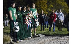Camden Catholic High School, Cherry Hill, Irish football is 8-0 and secured the West Jersey Football League Division Title on Nov. 4 vs. Cherry Hill West. At the same game the team and cheerleaders, along with alumni and fans, honored alumni veterans with a wreath-laying ceremony before kickoff. The ceremony took place at the CCHS Alumni Veterans Memorial, which honors the 26 Camden Catholic graduates who sacrificed their lives for their country.