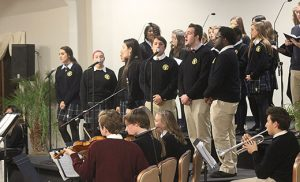 Photo by Mary McCusker Students representing all Camden Diocesan high schools will combine their musical talents at Christmas Amore, the 2016 concert to support the South Jersey Scholarship Fund. The group received a standing ovation after a sneak preview at the diocesan benefactors' thank you event on Oct. 24, under the direction of Holy Spirit High School, Absecon, music teacher Claire Collins.