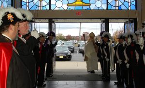 Photo by James A. McBride The Knights of Columbus stand at attention as Bishop Dennis Sullivan closes the Holy Doors last weekend at Mary, Mother of Mercy Parish, Our Lady of Lourdes Church in Glassboro.