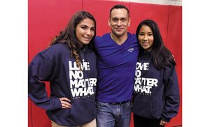 Justin Fatica, executive director of the Hard as Nails Ministry, with Mia Bullaro and Isabella Rivera, members of the Saint Mary of Mount Carmel, Hammonton youth group. Fatica shared his message of love, hope, and healing to families on Oct. 28 at the Saint Joseph School gym in Hammonton.