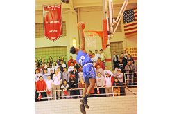High school boys' basketball action