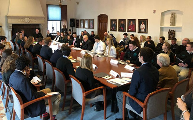 Bishop and students discuss gun violence