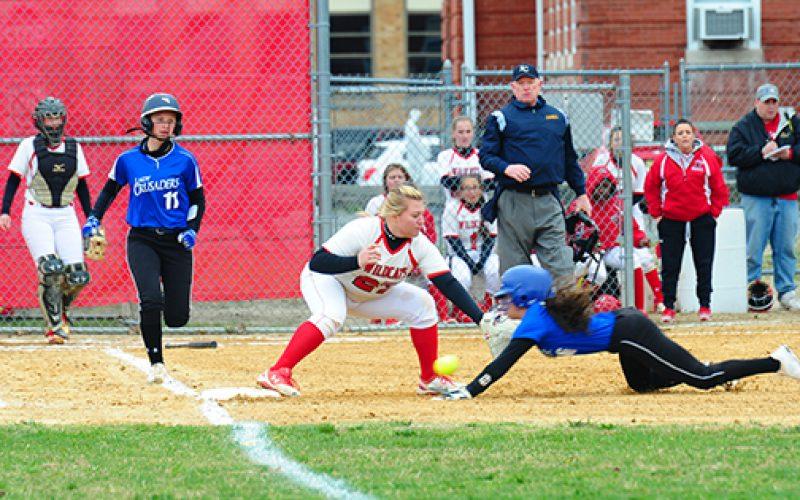 Girls' softball action