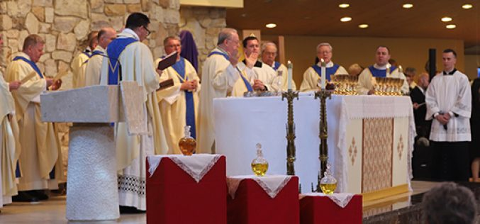 Bishop and his priests celebrate chrism Mass